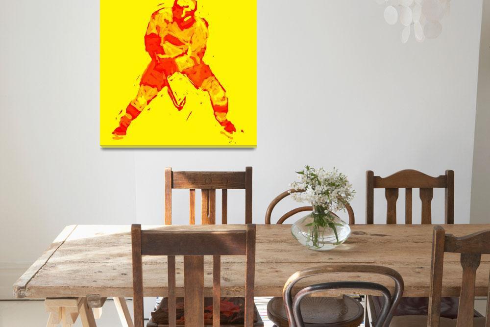 """Hockey Defenseman yellow red (c)&quot  (2014) by edmarion"