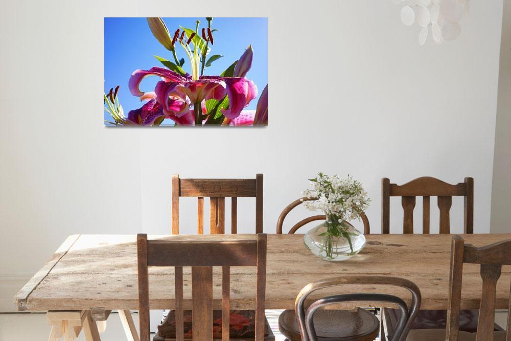 """Lilies Flowers Art Prints Floral Blue Sky Garden&quot  (2014) by BasleeTroutman"