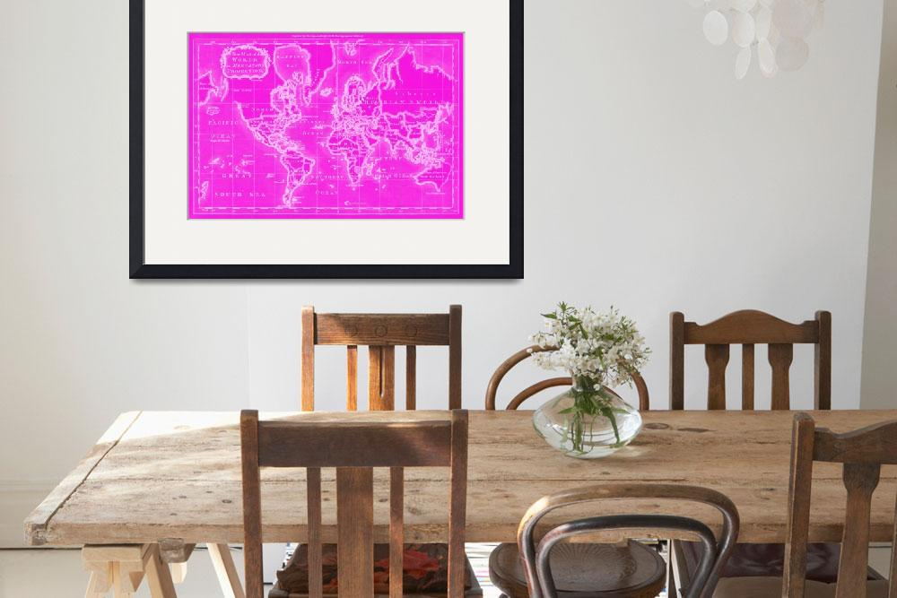 """""""World Map (1766) Pink & White""""  by Alleycatshirts"""