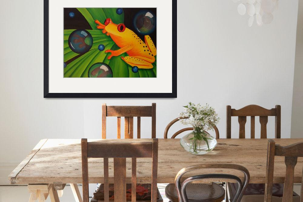 """""""Yellow Tree Frog on Green Leaf&quot  (2007) by mmm"""