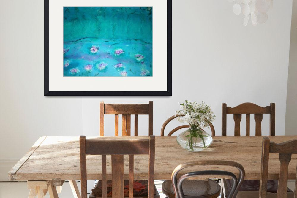 """""""Waterlilies Turquoise&quot  (2011) by angelaart"""