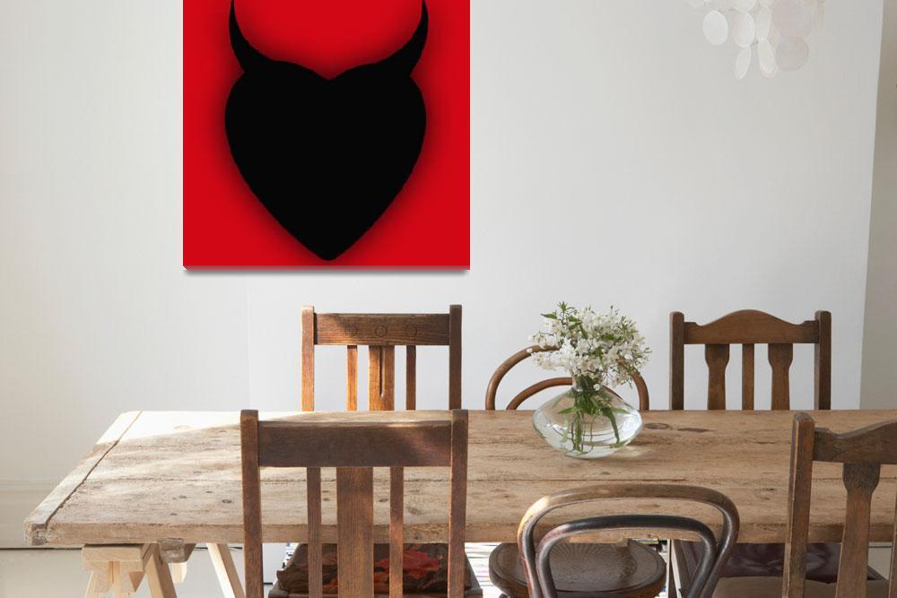 """Heart Series Love Black Devil Horns""  (2018) by RubinoFineArt"