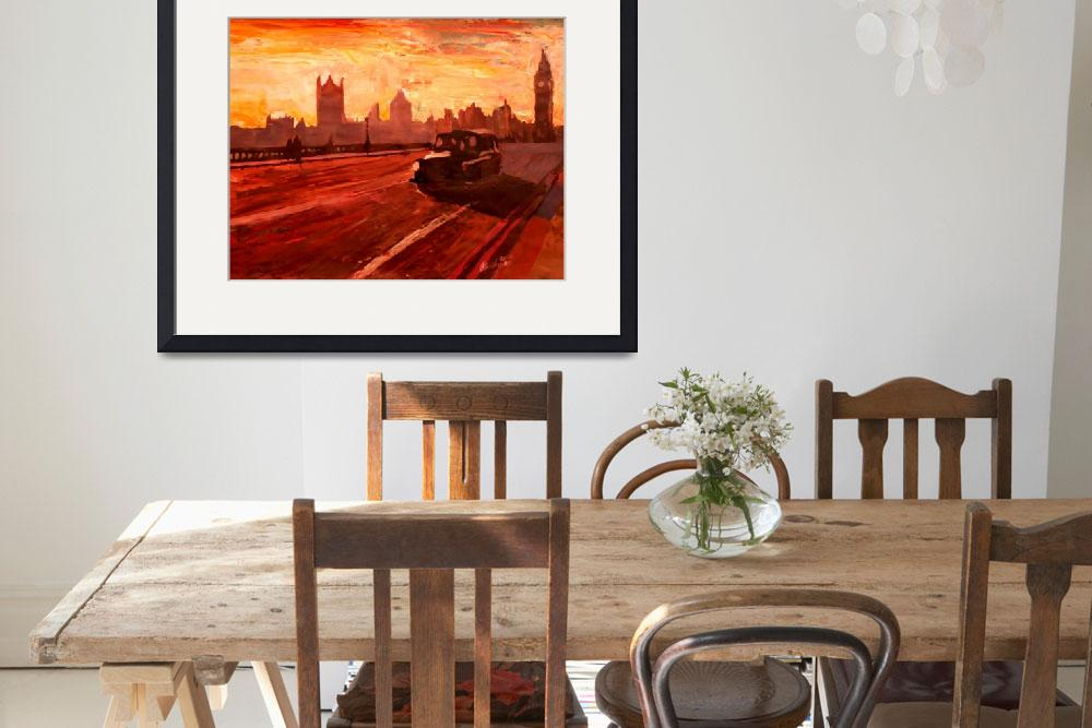 """London Taxi Big Ben Sunset With Parliament""  (2012) by arthop77"