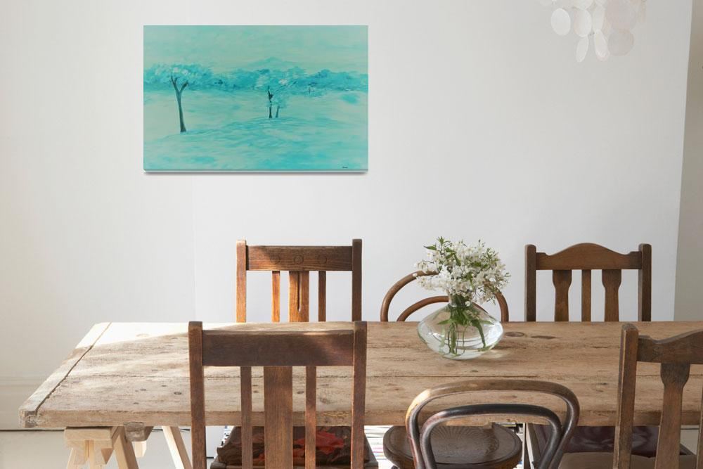 """Abstract Teal Landscape&quot  by EloiseArt"