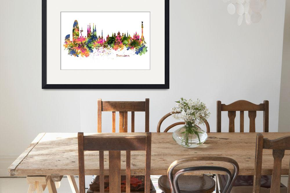 """""""Barcelona Watercolor Skyline&quot  (2015) by MarianVoicu"""