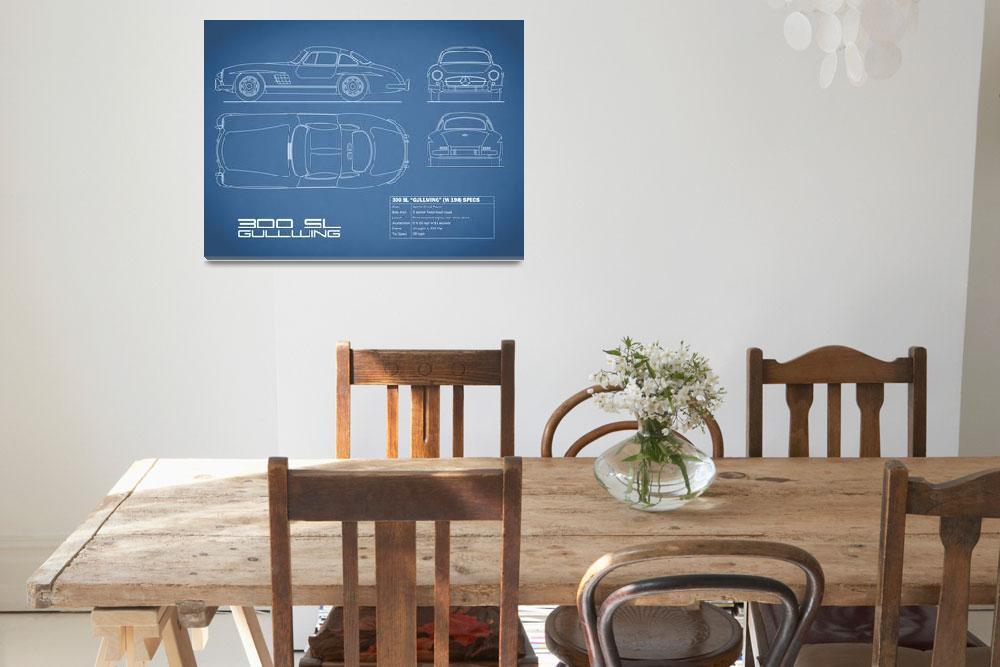 """Mercedes 300SL Gullwing Blueprint""  (2015) by mark-rogan"