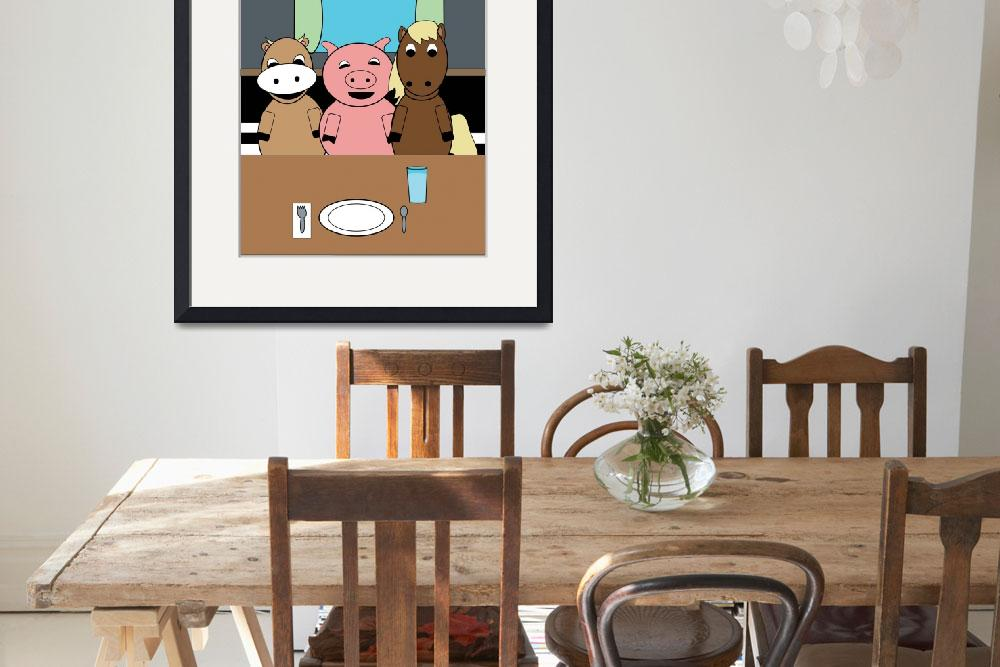 """""""Funny Farm at Table Cow Pig Horse&quot  (2018) by ValeriesGallery"""