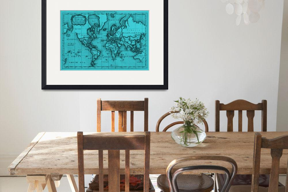 """World Map (1766) Light Blue & Black&quot  by Alleycatshirts"