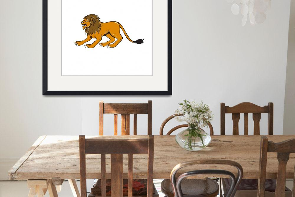 """""""Angry Lion Crouching Side Cartoon&quot  (2015) by patrimonio"""