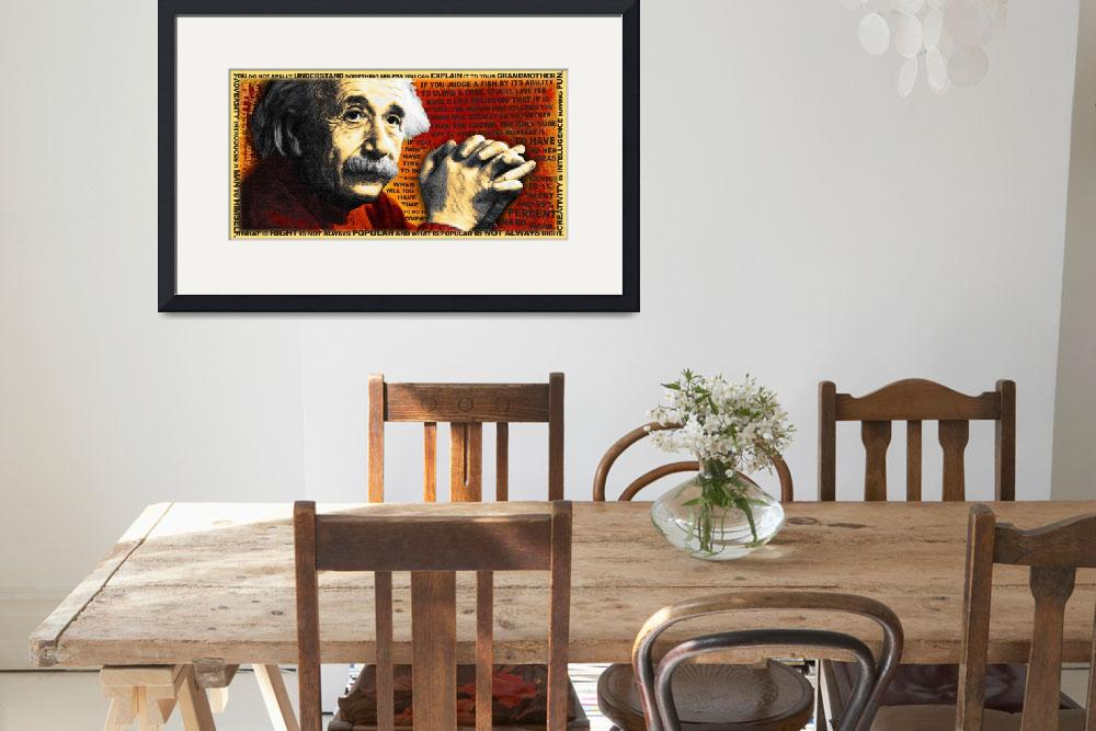 """""""Albert Einstein and Quotes Gold and Red&quot  (2014) by RubinoFineArt"""