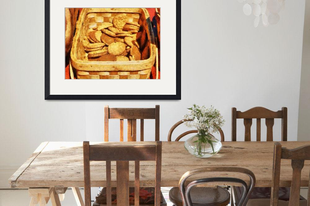 """Ginger Snap Cookies in Basket&quot  by susansartgallery"