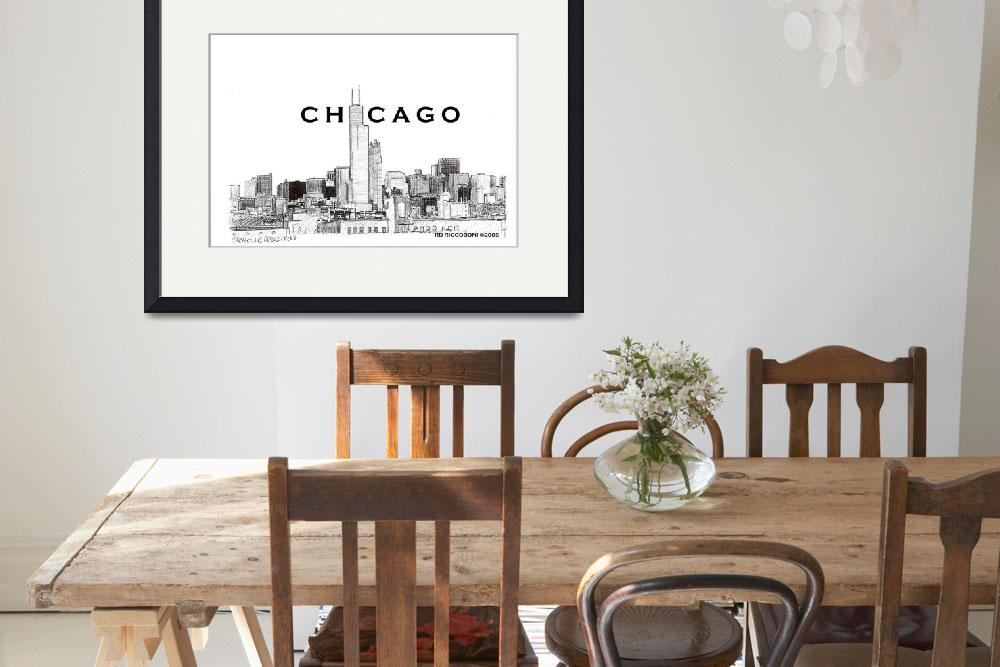"""Chicago Skyline, Chicago Art By Riccoboni&quot  by RDRiccoboni"