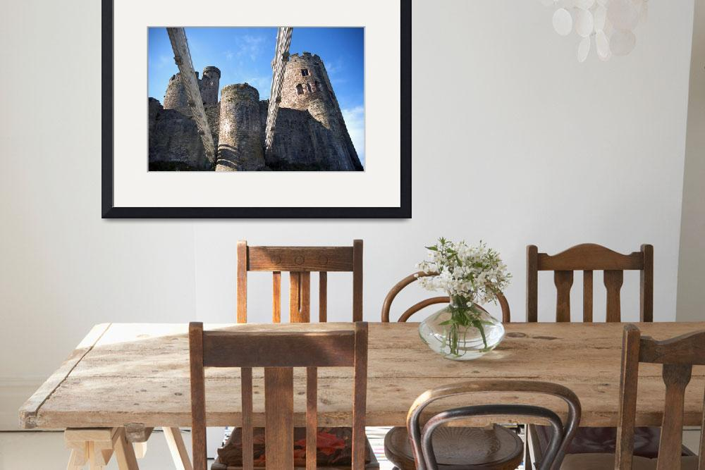 """""""Telford suspension bridge Joins Conwy castle.""""  (2011) by ccrcats"""