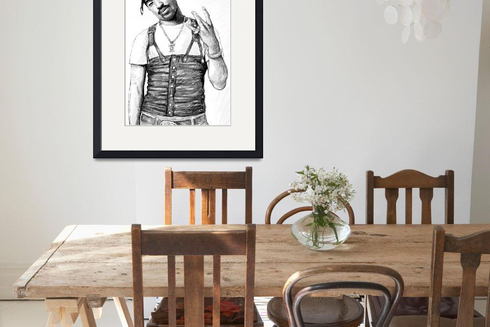 """2pac - tupac shakur drawing sketch art poster&quot  (2012) by visualharbour"