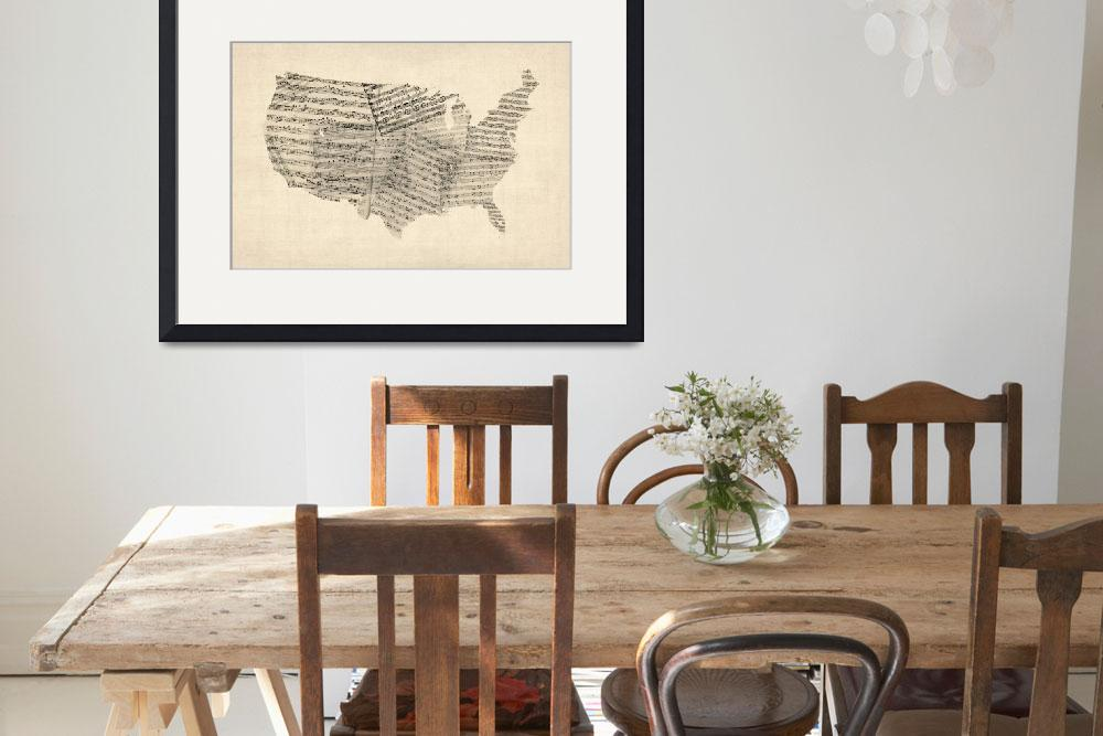 """""""United States Old Sheet Music Map&quot  (2012) by ModernArtPrints"""