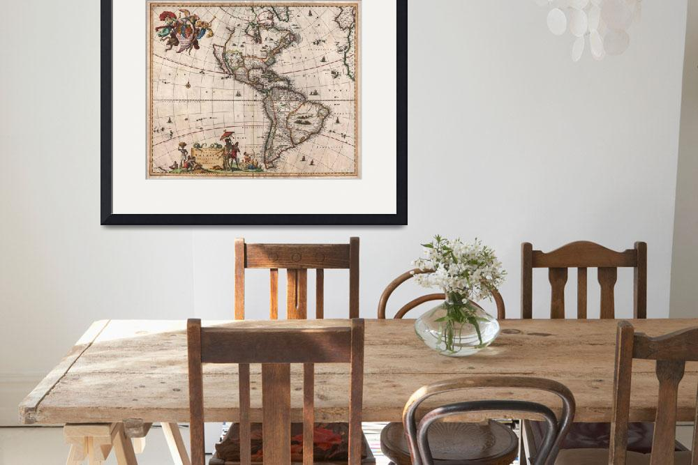 """""""Vintage Map of North and South America (1658)""""  by Alleycatshirts"""