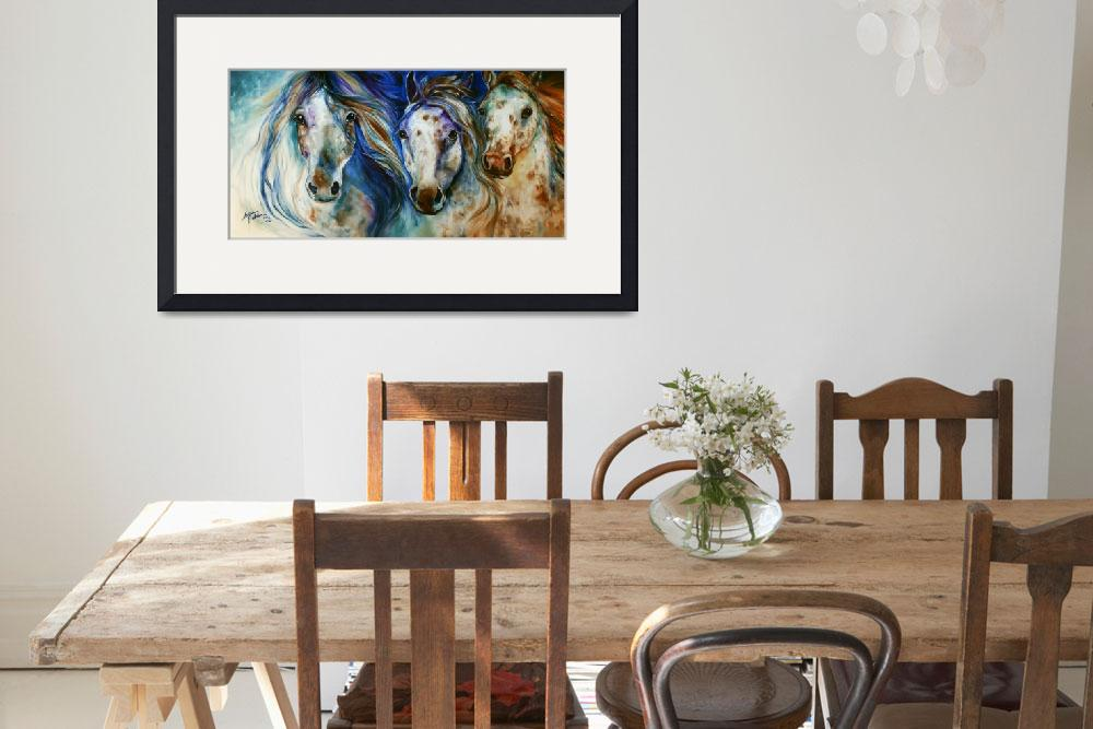"""3 WILD APPALOOSA HORSES""  (2014) by MBaldwinFineArt2006"