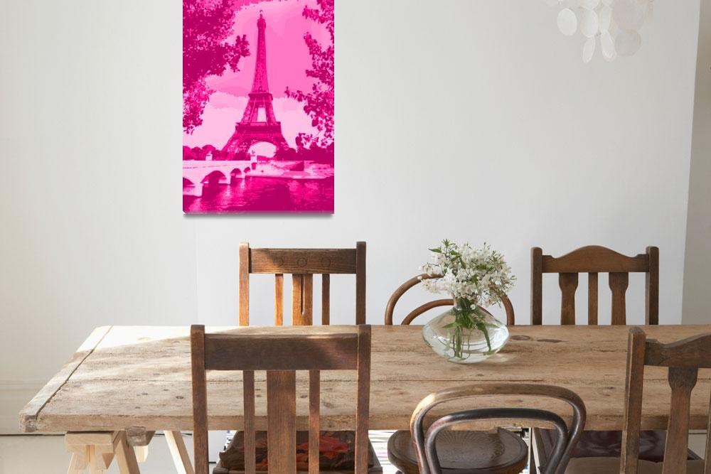 """""""Eiffel Tower Seine River Enhanced Pink&quot  (2013) by TheNorthernTerritory"""