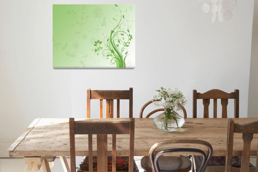 """green floral background""  (2009) by Dessie"