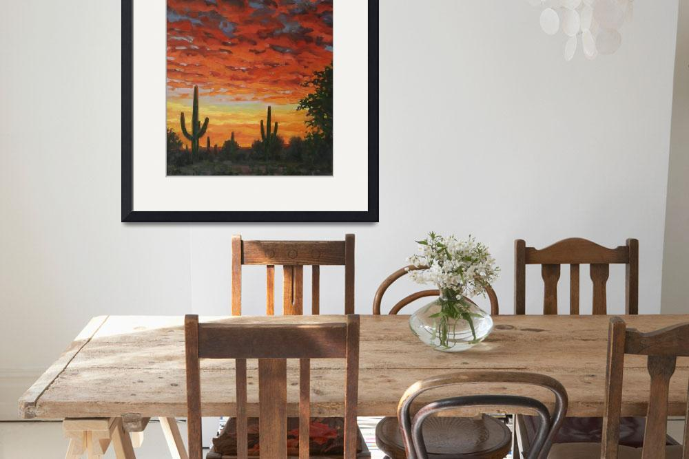 """""""Plein Air Impressionist Painting Saguaro by Sunset""""  (2011) by kevinmccain"""