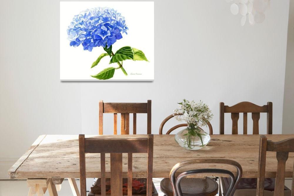 """Blue Hydrangea Blossom, white background""  (2016) by Pacific-NW-Watercolors"