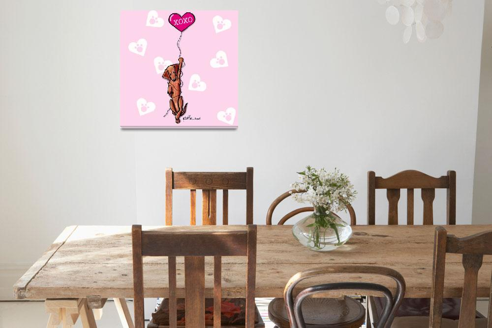 """""""Dangling Doxie Valentine&quot  (2006) by KiniArt"""