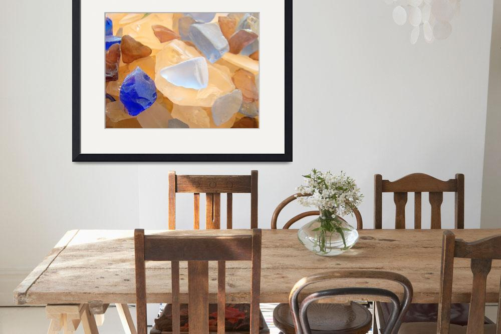 """Orange Blue Seaglass Beach design Coastal art prin&quot  (2014) by BasleeTroutman"