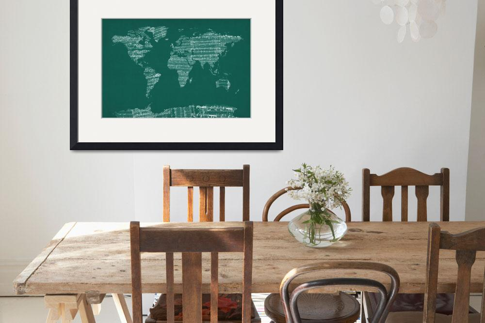 """Map of the World Map from Old Sheet Music&quot  (2013) by ModernArtPrints"