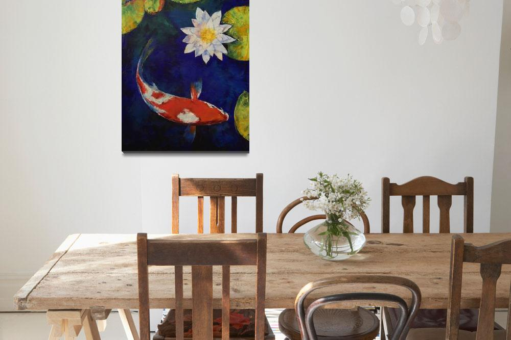 """Kohaku Koi and Water Lily&quot  by creese"