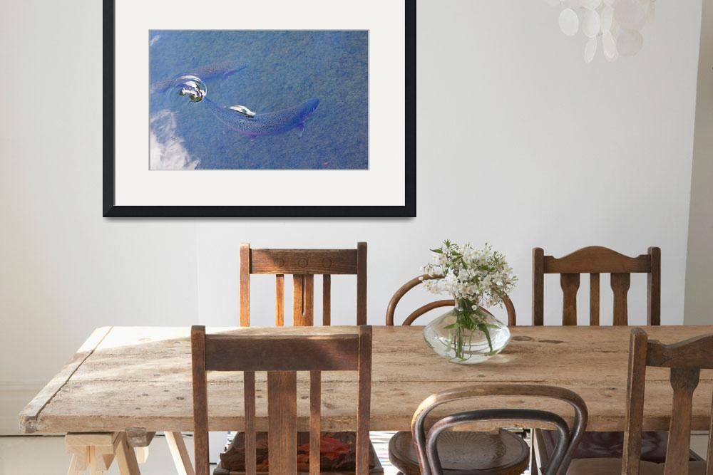 """""""Rainbow Trout Art Prints Breaking Water Surface&quot  (2014) by BasleeTroutman"""