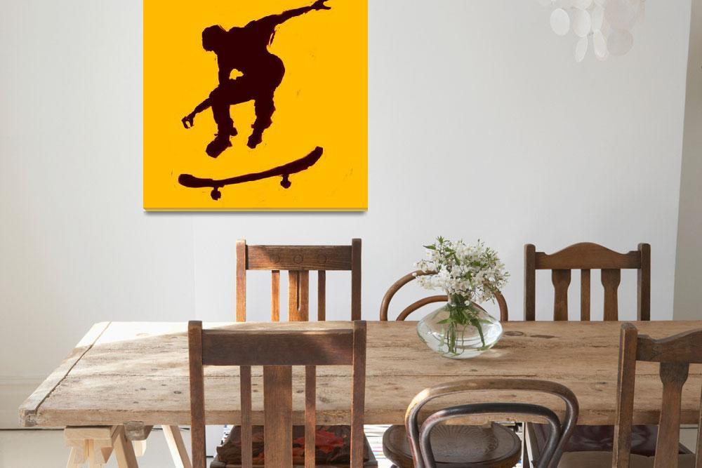 """""""Skateboarder 3 . gold orange black (c)&quot  (2014) by edmarion"""