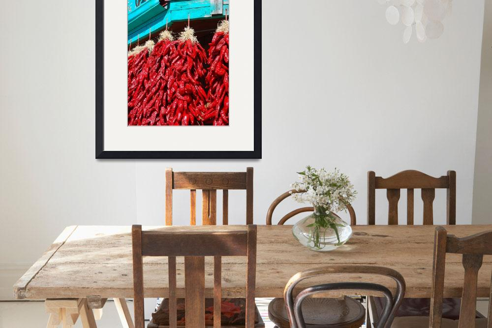 """""""Red Chili Ristras on Turquoise wood, Taos, Santa F&quot  by toddbush"""