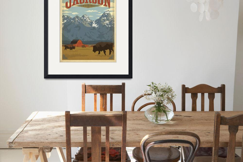 """Jackson, Wyoming Retro Travel Poster""  by artlicensing"