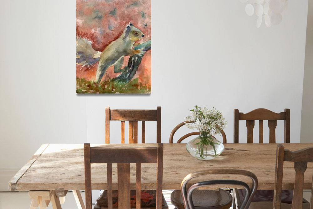 """Animal Art | watercolor | Nutella the Squirrel&quot  (2015) by schulmanart"