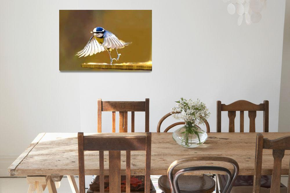 """""""Blue tit with lighted wings - Ipad art&quot  (2012) by Spangles44"""