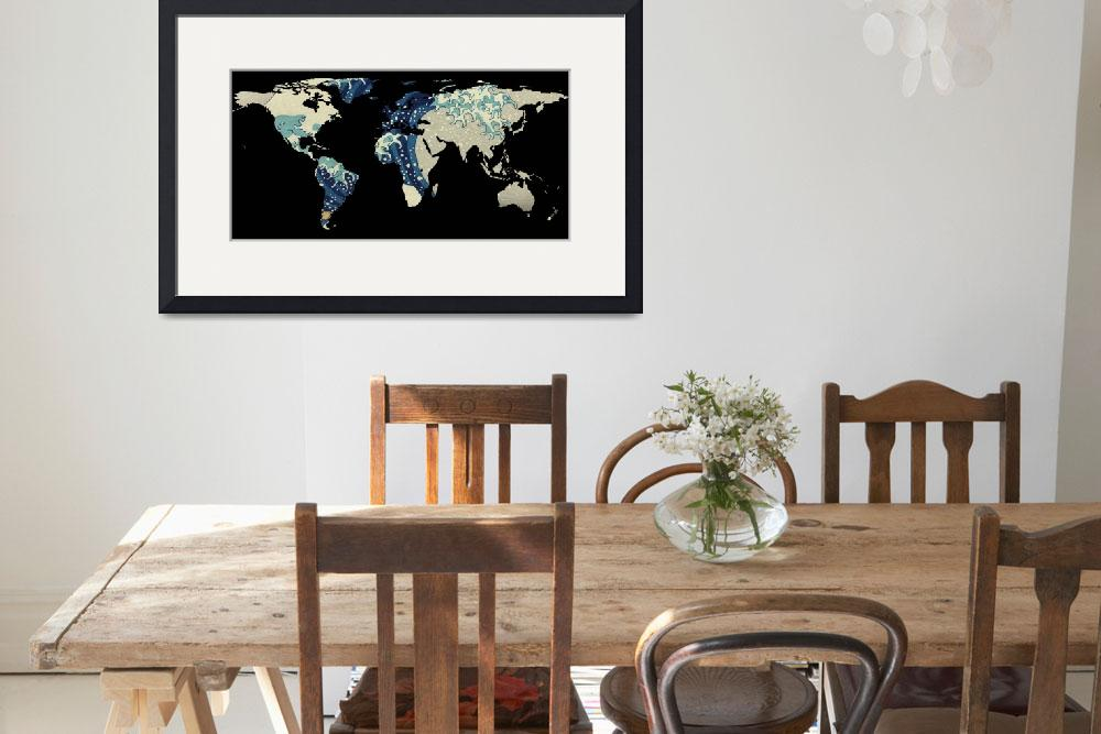 """""""World Map Silhouette - The Great Wave Off Kanagawa&quot  by Alleycatshirts"""