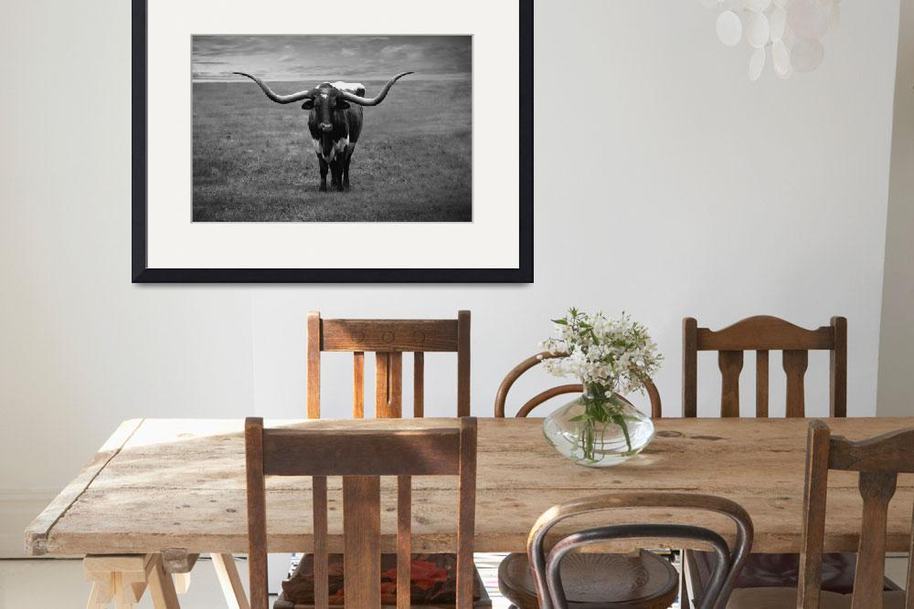 """Photo Texas Longhorn Black & White A2010816&quot  (2016) by MasArtStudio"