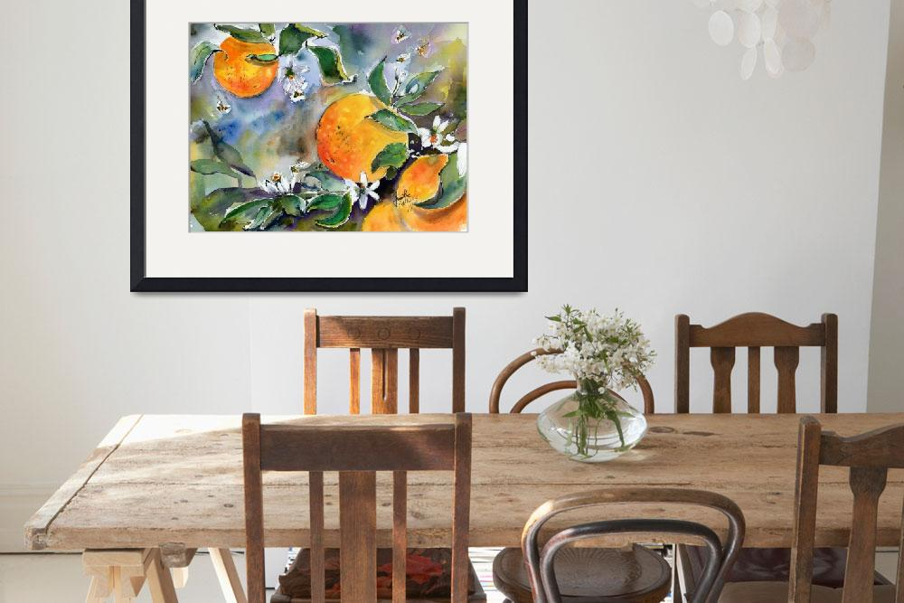 """Oranges Bossoms and Bees Watercolors"" (2019) by GinetteCallaway"
