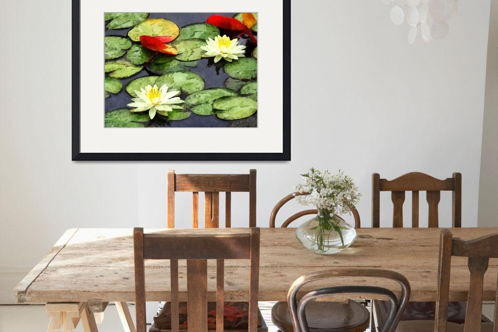 """""""Water Lily Pond in Autumn""""  by susansartgallery"""
