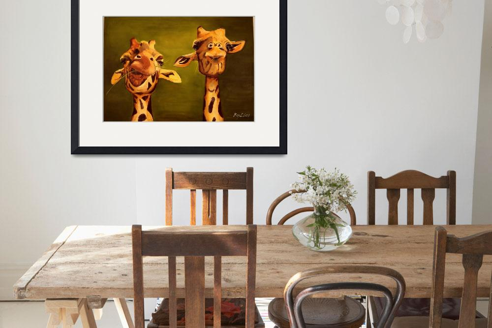 """""""giraffe painting 2 buddies&quot  (2009) by Spangles44"""