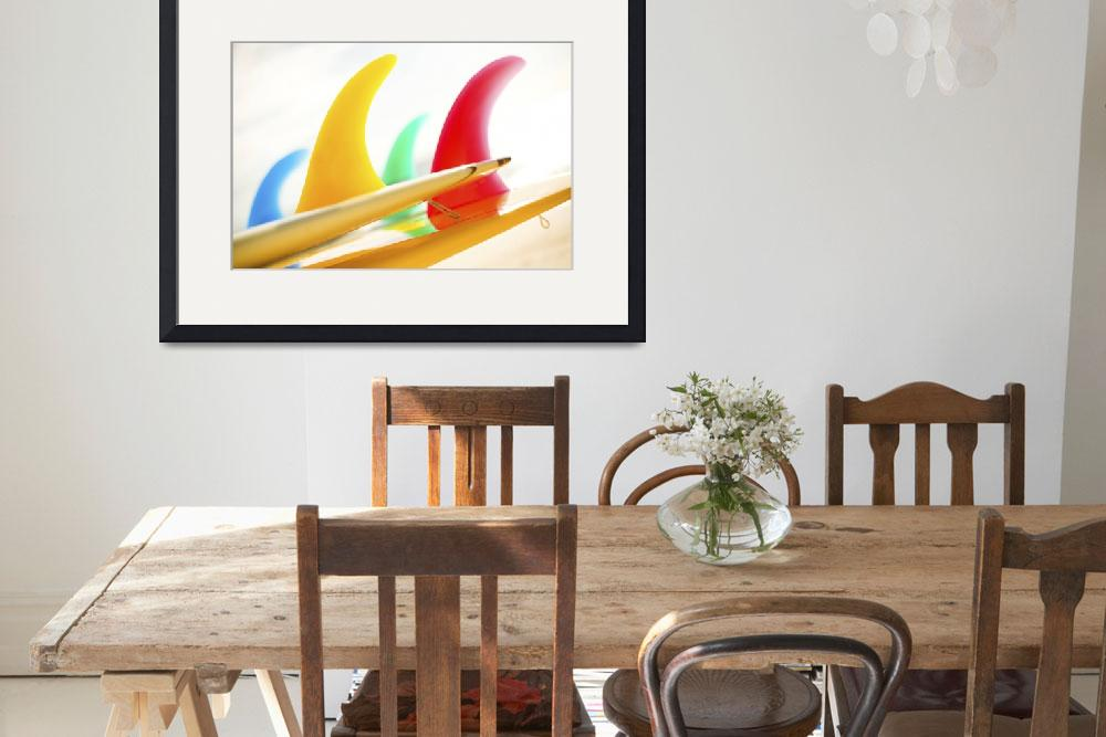 """""""Colorful Surfboards Fins, Bright Sunny Sky In Back&quot  by DesignPics"""