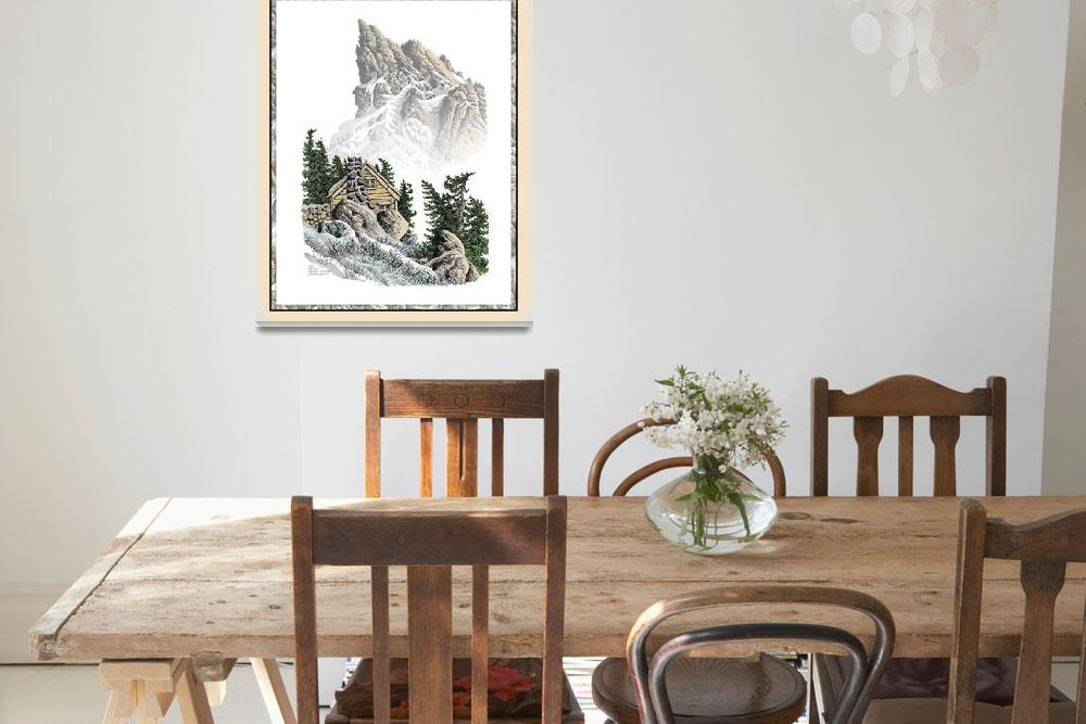 """MOUNTAIN HOME PEN DRAWING""  (2013) by alpineseaside"