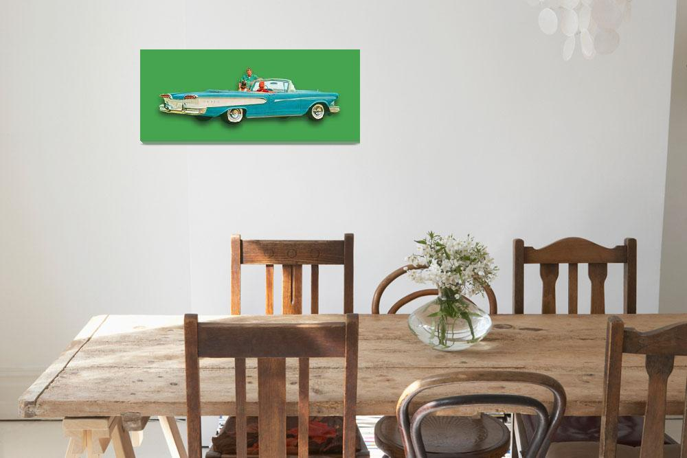 """Edsel Car Advertisement Convertible Green""  (2015) by RubinoFineArt"
