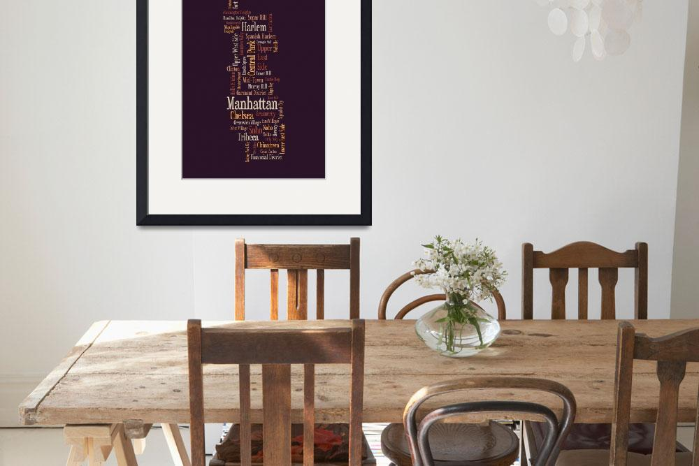 """Manhattan New York Typographic Map&quot  by ModernArtPrints"