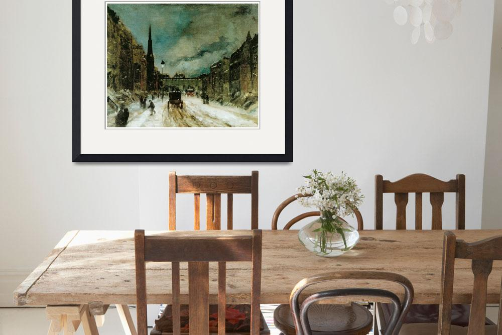 """""""Street Scene with Snow (57th St., New York City)&quot  by ArtLoversOnline"""