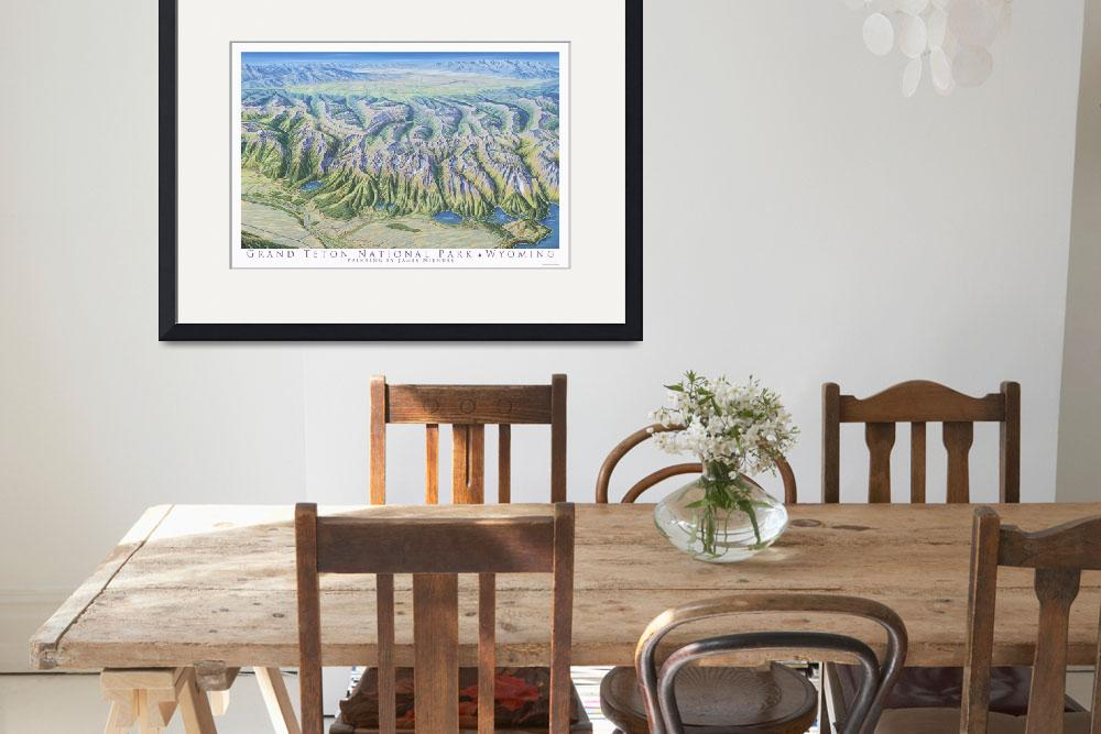 """""""The Grand Tetons&quot  (1996) by jamesniehuesmaps"""