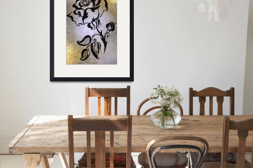 """""""Ink Drawing Chinese Rose Golden&quot  (1980) by JennyRainbow"""