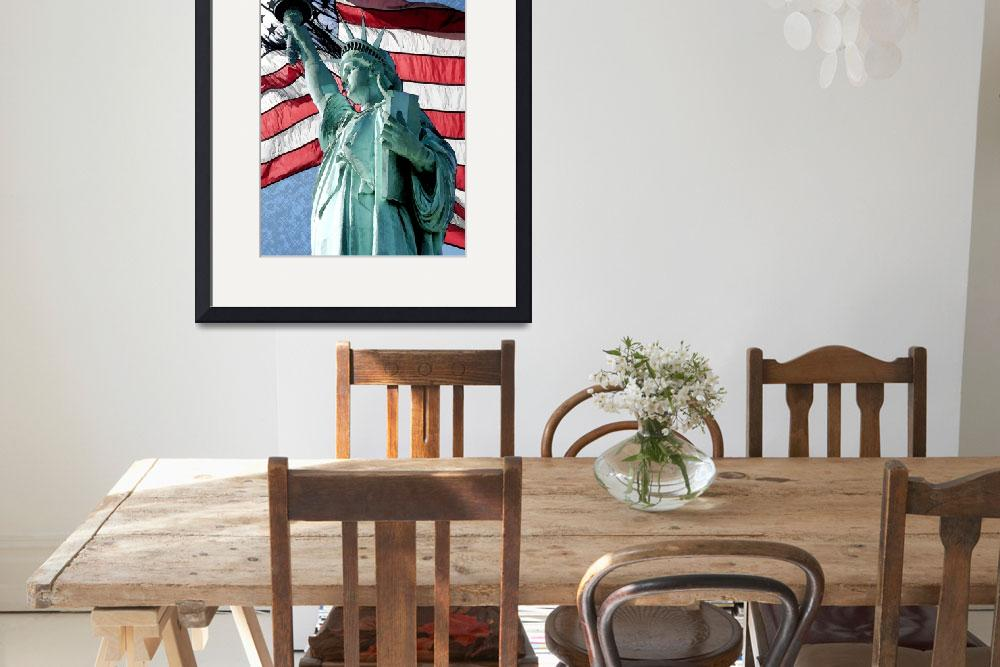 """""""Statue of Liberty American Flag&quot  (2013) by Americastees"""