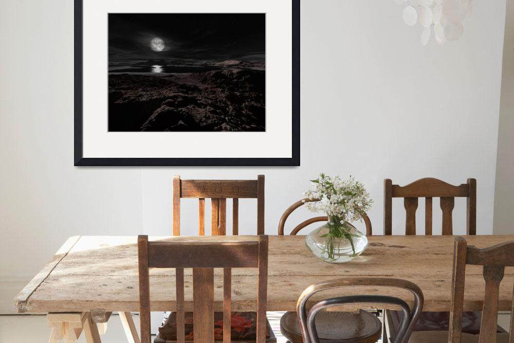 """""""Plutos moon, Charon, hovers above the frozen lands""""  by stocktrekimages"""