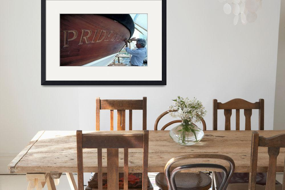 """""""Fred carving Pride ll transom by Bill McAllen&quot  by McallenPhotography"""